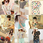 Korean Womens Girl Cute Batwing Sleeve Heart Printed Chiffon T-shirt Tops Blouse