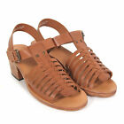 H by Hudson Women's Ios Leather Buckle Detail Block Heel Sandal Tan