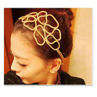 Fashion Women Gold Silver Knitted Hollow Out Flower Elastic Headband Hair Band
