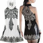 2014 Boho Retro Women totem pattern Dress Mini Sleeve Summer Club Dance Dress D8
