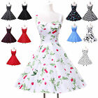 Vintage Swing 50s Polka Dot Flora Cocktail Rockabilly Evening Housewife Dress