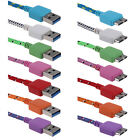 1M 3ft Braided Micro USB3.0 Sync Charger Cable Cord for Samsung Galaxy S5 Note 3
