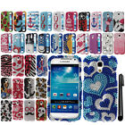 For Samsung Galaxy S4 mini I9190 Image DIAMOND BLING HARD Case Phone Cover + Pen