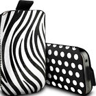 PAIR OF BLACK POLKA & ZEBRA (PU) LEATHER PULL TAB POUCHES FOR NEW MOBILE PHONES