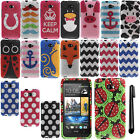 For HTC Desire 601 Zara Design DIAMOND BLING CRYSTAL HARD Case Phone Cover + Pen