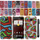 For HTC Droid DNA 6435 Incredible X DIAMOND BLING HARD Case Phone Cover + Pen