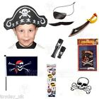 Pirate Dress Up Accessories Skull & Crossbones Tattoo Flag Eyepatch & Moustache