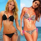 Sexy Leopard Bikini Set Push Up Halter Top Side Tie Bottom Swimwear Swimsuit