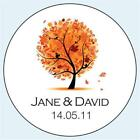 Personalised Wedding Stickers Labels. 5 sizes. Autumn Tree 040