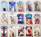 New Women Fitted Loose Long Section Graphic Printed Short Sleeve T-Shirt Vest