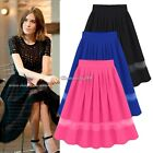 Sexy Women Girl Stretch Waist Pleated Jersey Plain Skater Flared Mini Skirt