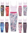 Womens Ladies Contrast Panel Strappy Printed Midi Pencil Bodycon Skirt Dress Top