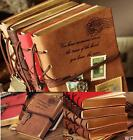 WO US Retro Classic Vintage Leather Bound Blank Pages Journal Diary Notebook