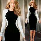 Vintage Lady Long Sleeve Splicing Midi Short Casual Evening Career Pencil Dress