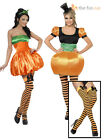 Ladies Sexy Pumpkin Fancy Dress Costume + Stockings  Womens Halloween Outfit