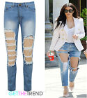 Womens Sexy Celeb Inspired Distressed Ripped Cut Out Blue Straight Leg Jeans