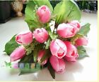 Home Garden Wedding Decor 1 Bouquet 12 Heads Artificial Tulip Silk Flowers Leaf
