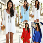 Sexy Summer Women Casual V-Neck Party Evening Cocktail Short Mini Dress Blouse