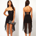 Stylish Sexy Women Casual Strapless Party Evening Cocktail Mini High-Low Dress