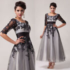 NEW Vintage Appique Glam Lace Celebrity Style Evening Party Long Pageant  Dress