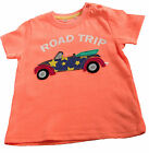 Baby Boys Toddlers Orange T-Shirt Top Short Sleeved Cotton Age 6M-3Y Road Trip