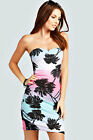 Boohoo Womens Ladies Chloe Palm Print Bandeau Bodycon Dress In Multi