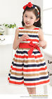 Girls Red, Brown and Navy Stripe Prom Dress Bow Prom Party Dress 2-7Years