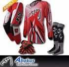 ADULT MX JERSEY+PANTS+GLOVES*RED*Dirt Bike Gear/Off-road/Motocross/BMX/MotoX/ATV
