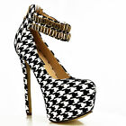 NEW Ladies Black White Platform Gold Cuff Strap Stilettos Shoes Pumps Heels Size
