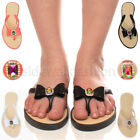 WOMENS LADIES FLAT FLIP FLOPS RAINBOW GEM BOW DIAMANTE TOE POST BEACH SANDALS