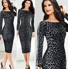 New Sexy Leopard Womens Celebrity Cocktail Evening Party Bodycon Pencil Dress