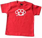 D005  Baby Tee Shirt  0-18 monate red rot weiss Schlagring Streetfighter Knuckle
