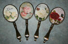 Beautiful Vintage Rose Antique Brass Effect Hand Held Mirror Butterfly Flowers