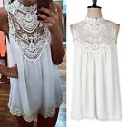 Womens Cocktail Party Floral Dresses Summer Sleeveless Lace Evening Dress Tops