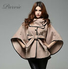 hot Ladies winter cashmere wool women coat jacket Cape shawl PU leather trench