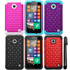 For Nokia Lumia 635 630 BLING HYBRID Rubber HARD Case SILICONE Cover Phone + Pen
