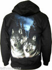 Brothers Wolves Zip up Hoody Hooded Top Wolf Sled Dogs Goth Biker Western