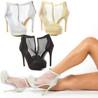 Women Mesh T Strap Evening Ankle Bootie Platform Stiletto High Heel Pump US 5-11