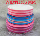 Red- Pink strip  32 mm Cotton Webbing Belting Fabric Strap Bag Making Thick
