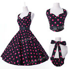 Vintage 1950s Rockabilly Cotton Polka Dot Swing Prom Party Jive Pinup Dress S-XL