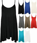 New Plus Womens Plain Strappy Ladies Swing Flared Short Mini Dress Top 16-26