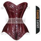 Steel Boned Overbust Bustier Heavy Back Lacing Real Leather Hot Maroon Corset
