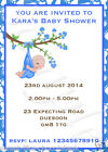 10 PERSONALISED BABY SHOWER INVITATIONS AND ENVELOPES - BOY