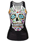 Sexy Womens Digital Printed Blouse Tattoo T-shirt Gothic Tank Tops Punk Clubwear