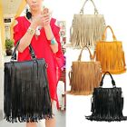 Women Girls Faux Leather Handbags Multi-color With Long Tassels Fringe 1PCS