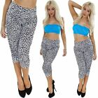 Womens 3/4 Cropped Cheetah Animal Print Ali Baba Harem Trousers Pants Plus Size