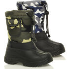 BOYS KIDS WARM FUR LINING WINTER SNOW SKI MOON VELCRO MUCKER CALF BOOTS SIZE