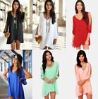 New Sexy Womens Ladies Loose Long Sleeve Chiffon Summer Casual Party Dress Tops