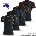 Mens Compression Base Layer Thermal Armour Top Half Sleeve Gym Sports Shirt Blk