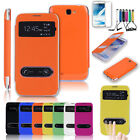 New Flip PU Leather Double Windows Cover Case For Samsung Galaxy Note 2 II N7100